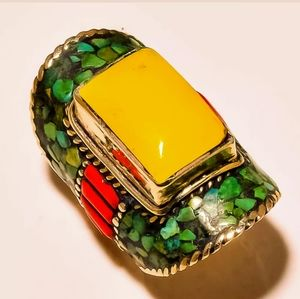 Yellow Turquoise Red Coral Tibetan Silver Ring.